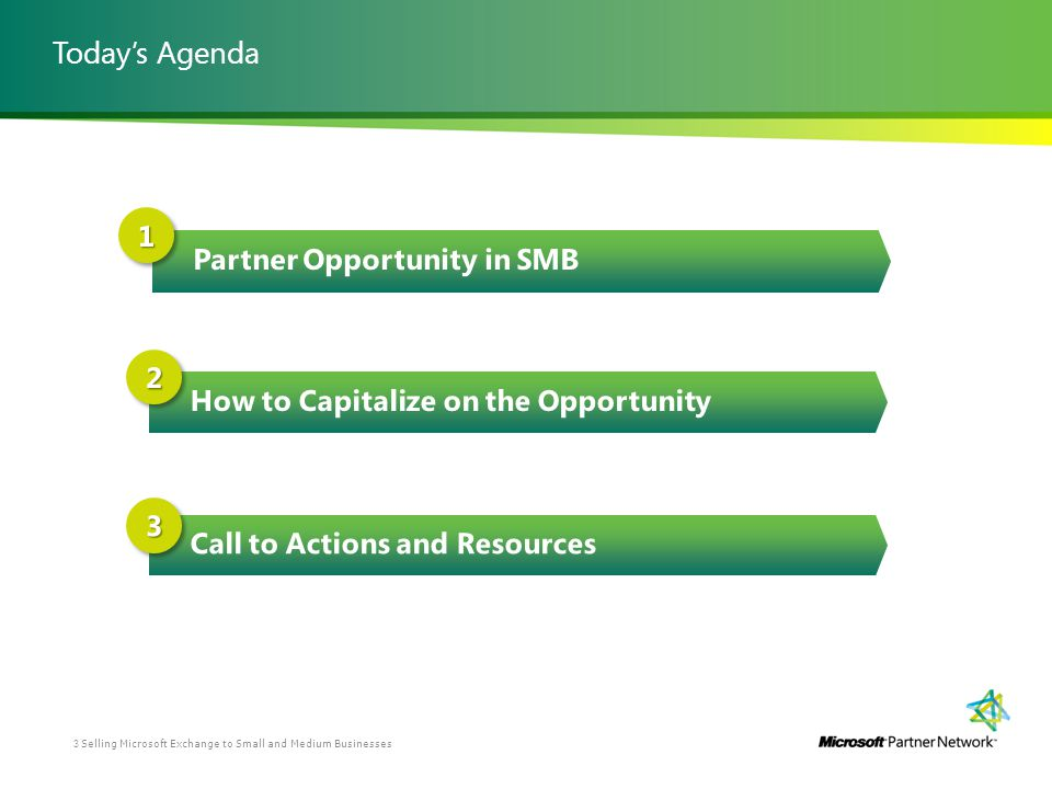 Todays Agenda Selling Microsoft Exchange to Small and Medium Businesses3