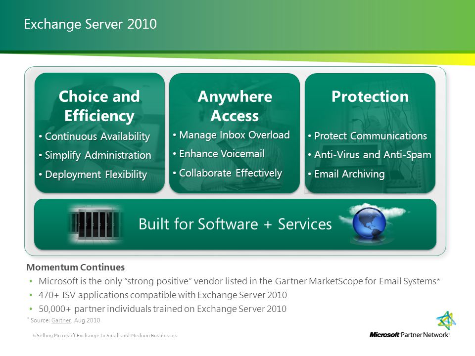 Exchange Server 2010 Momentum Continues Microsoft is the only strong positive vendor listed in the Gartner MarketScope for Email Systems* 470+ ISV app