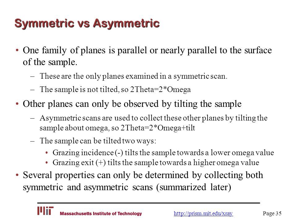 Symmetric vs Asymmetric One family of planes is parallel or nearly parallel to the surface of the sample. –These are the only planes examined in a sym
