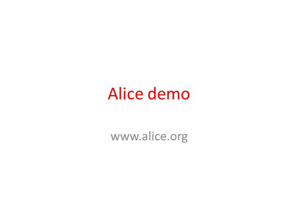 Alice demo www.alice.org