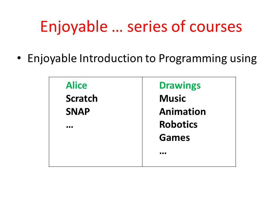 Enjoyable … series of courses Enjoyable Introduction to Programming using Alice Scratch SNAP … Drawings Music Animation Robotics Games …
