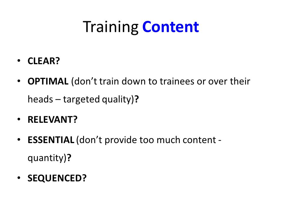 Training Content CLEAR.