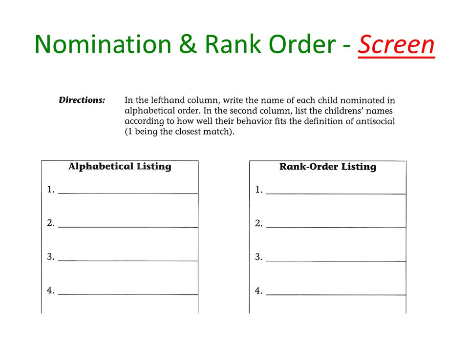 Nomination & Rank Order - Screen