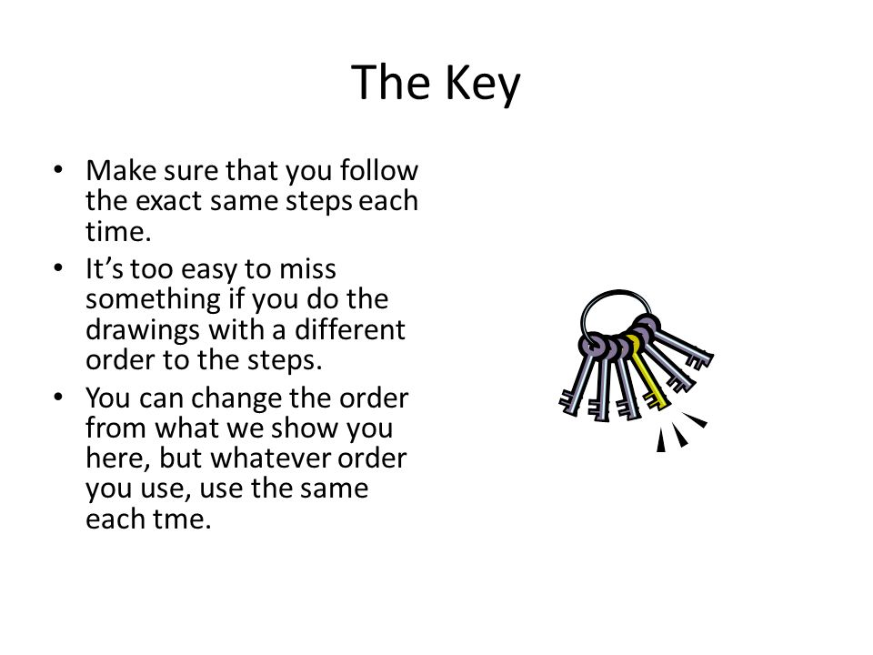 The Key Make sure that you follow the exact same steps each time. Its too easy to miss something if you do the drawings with a different order to the