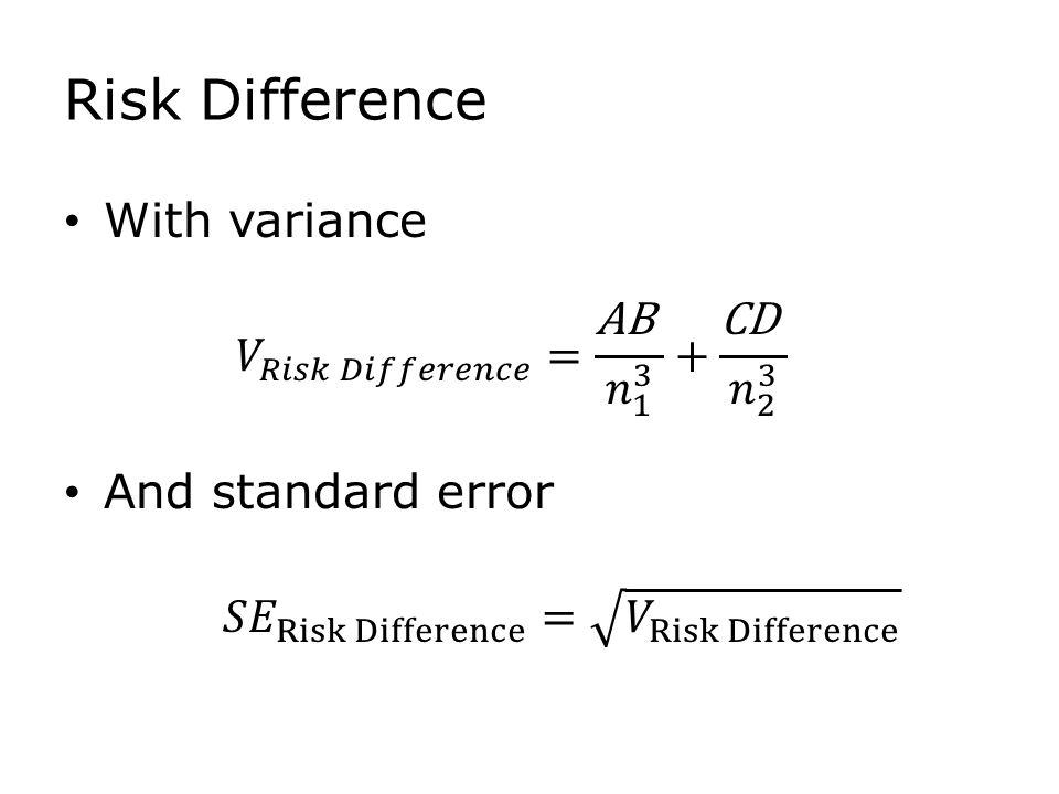 Risk Difference With variance And standard error