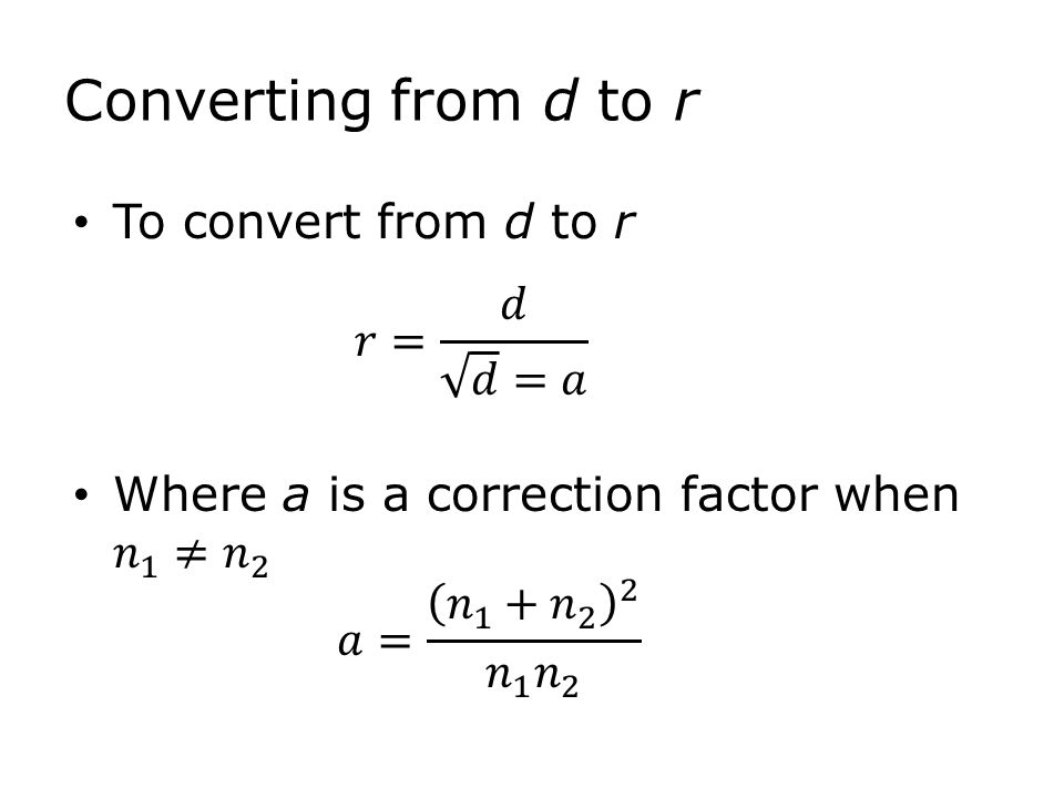 Converting from d to r