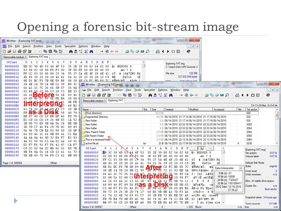 Opening a forensic bit-stream image Before Interpreting as a Disk After Interpreting as a Disk