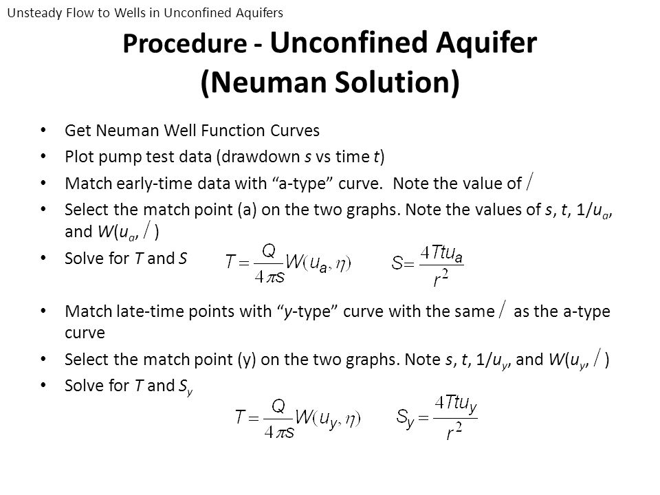 Procedure - Unconfined Aquifer (Neuman Solution) Get Neuman Well Function Curves Plot pump test data (drawdown s vs time t) Match early-time data with
