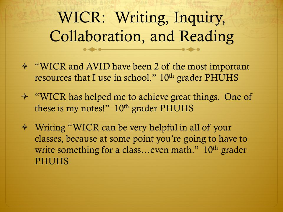 WICR: Writing, Inquiry, Collaboration, and Reading WICR and AVID have been 2 of the most important resources that I use in school. 10 th grader PHUHS