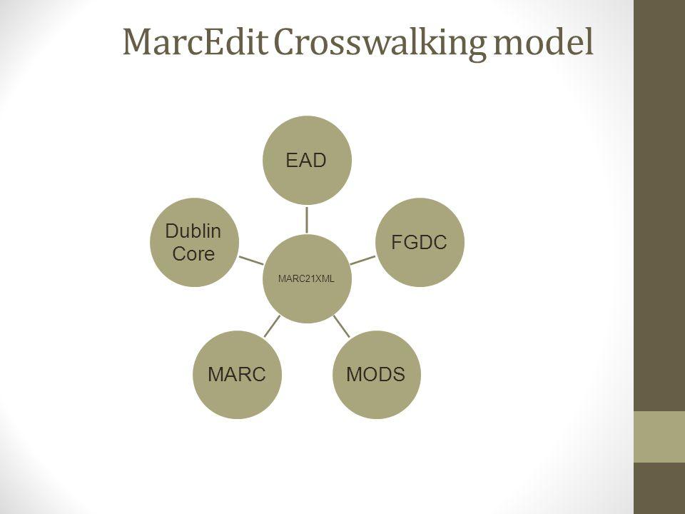 MarcEdit Crosswalking model MARC21XML EADFGDCMODSMARC Dublin Core