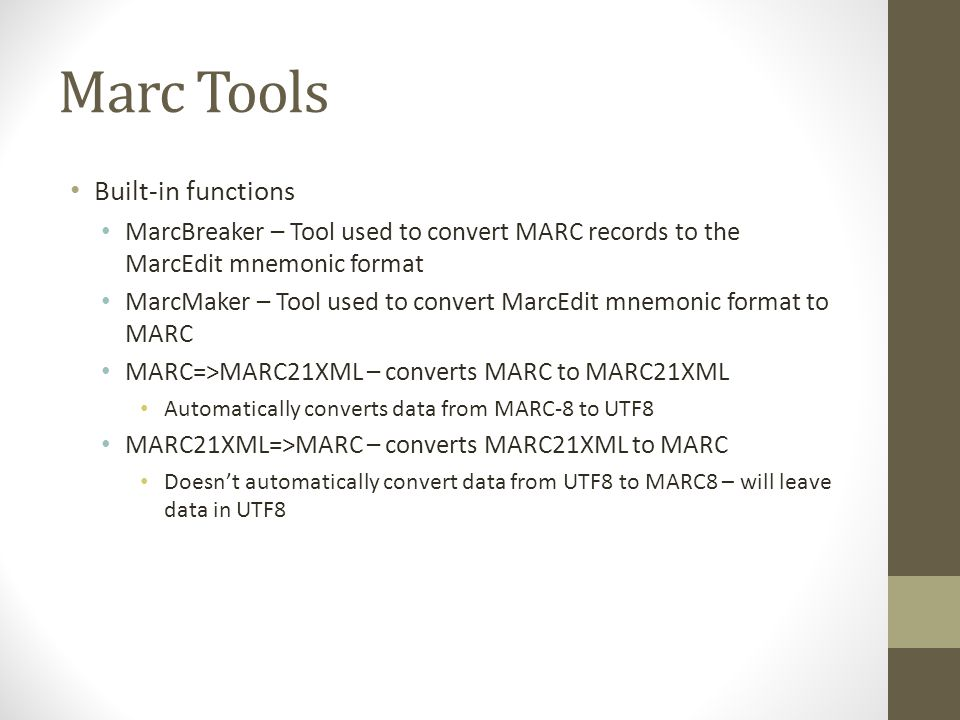 MARC Character Conversions Supports moving between any known Windows Characterset and MARC8.