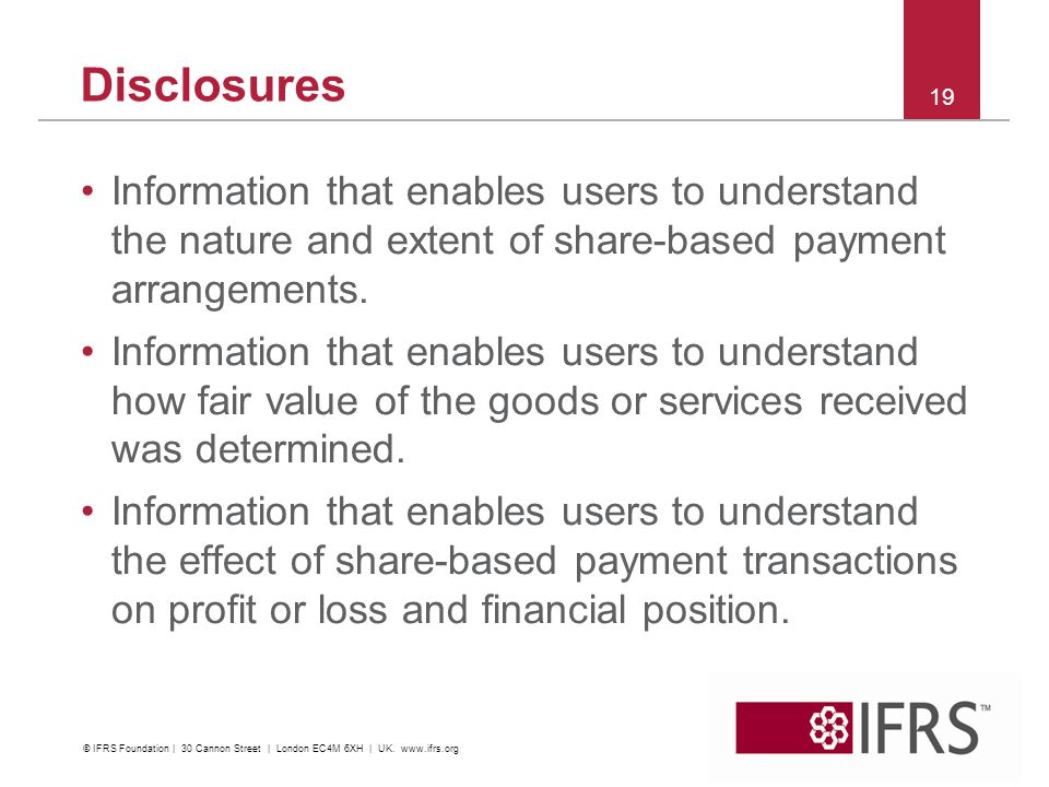 Disclosures Information that enables users to understand the nature and extent of share-based payment arrangements.