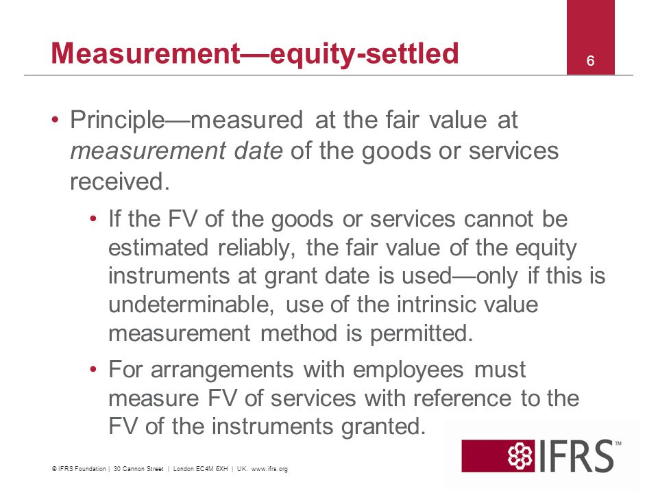 Measurementequity-settled Principlemeasured at the fair value at measurement date of the goods or services received. If the FV of the goods or service