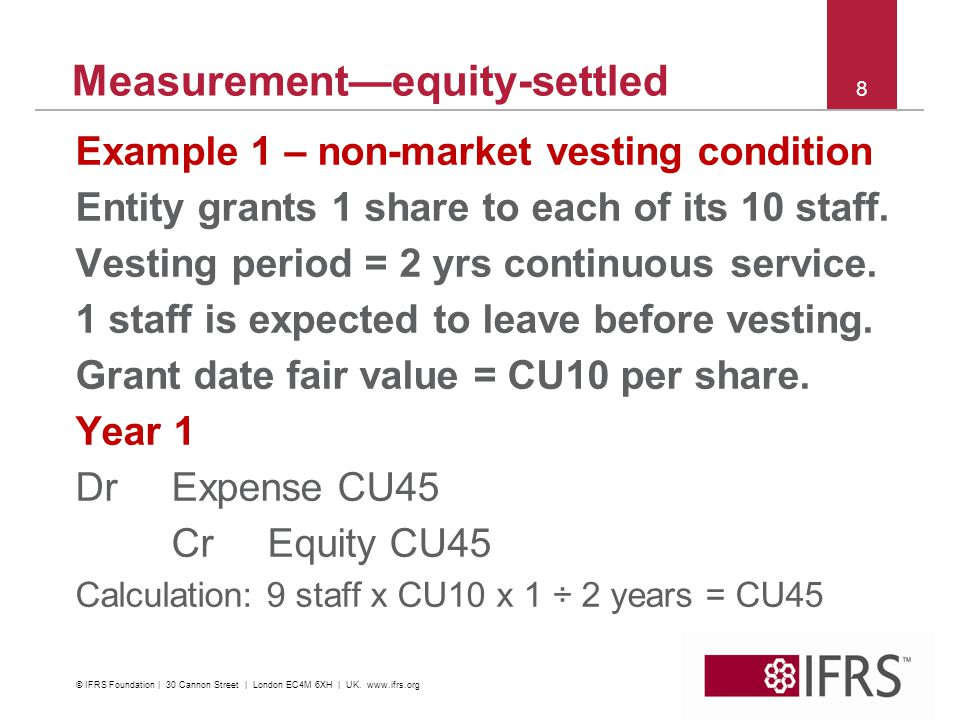 8 Measurementequity-settled Example 1 – non-market vesting condition Entity grants 1 share to each of its 10 staff. Vesting period = 2 yrs continuous