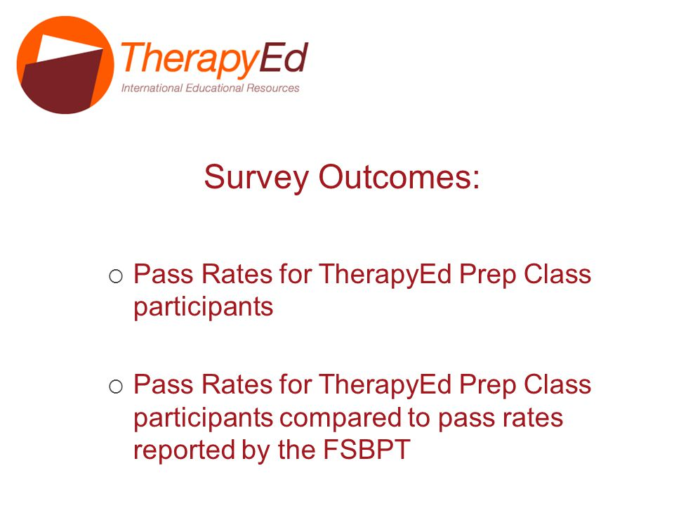 Pass Rate for TherapyEd Prep Class participants*: *CAPTE accredited programs/ First time test takers