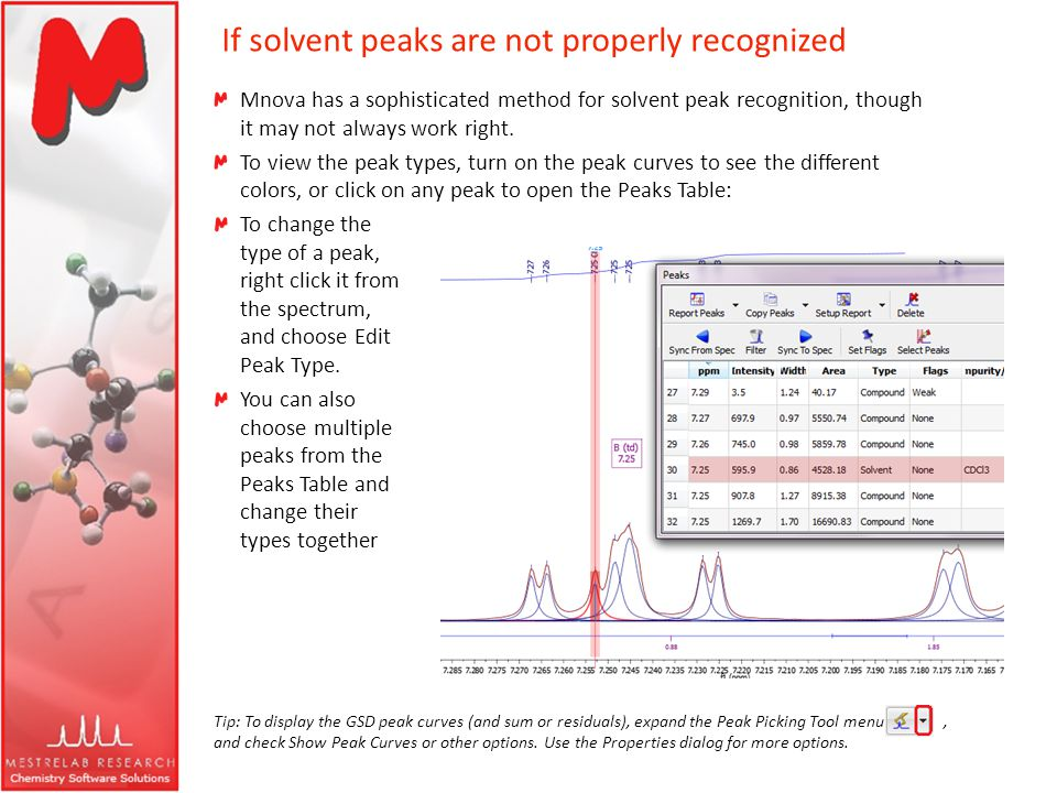 If solvent peaks are not properly recognized Mnova has a sophisticated method for solvent peak recognition, though it may not always work right. To vi