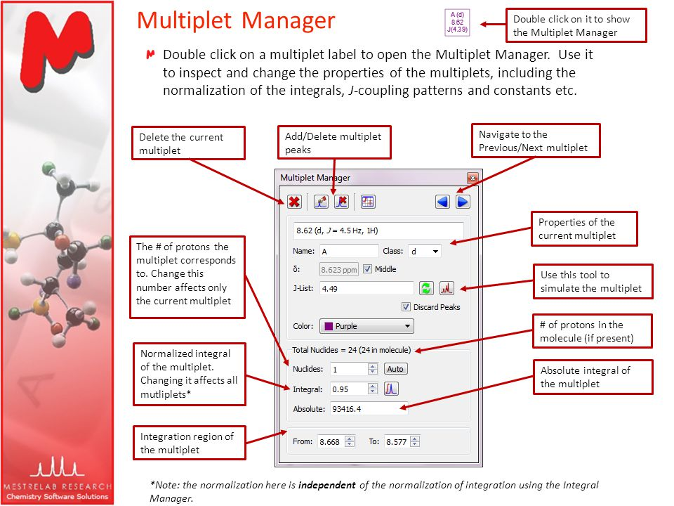 Multiplet Manager Double click on a multiplet label to open the Multiplet Manager. Use it to inspect and change the properties of the multiplets, incl