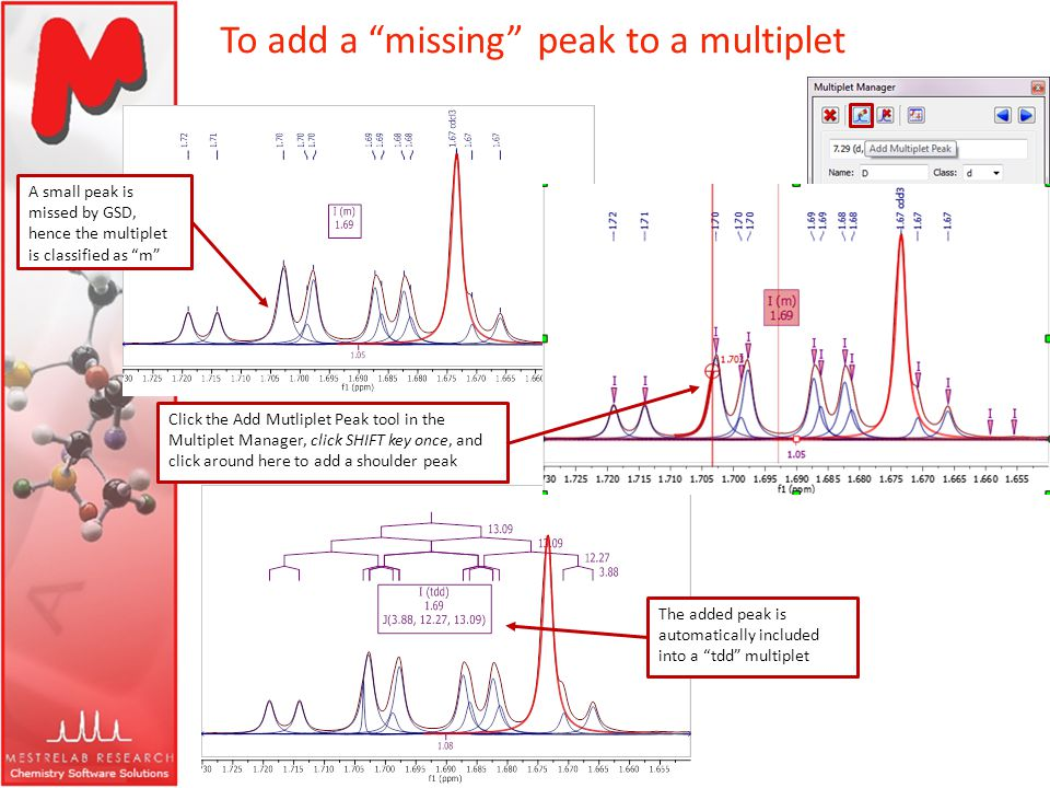 To add a missing peak to a multiplet A small peak is missed by GSD, hence the multiplet is classified as m Click the Add Mutliplet Peak tool in the Mu