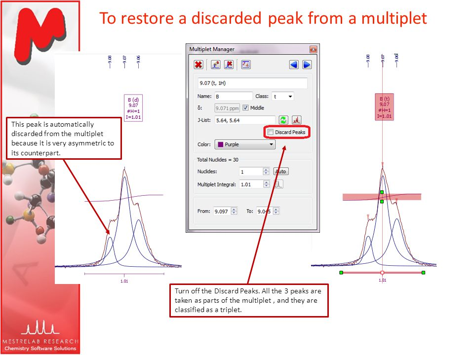 To restore a discarded peak from a multiplet Turn off the Discard Peaks. All the 3 peaks are taken as parts of the multiplet, and they are classified