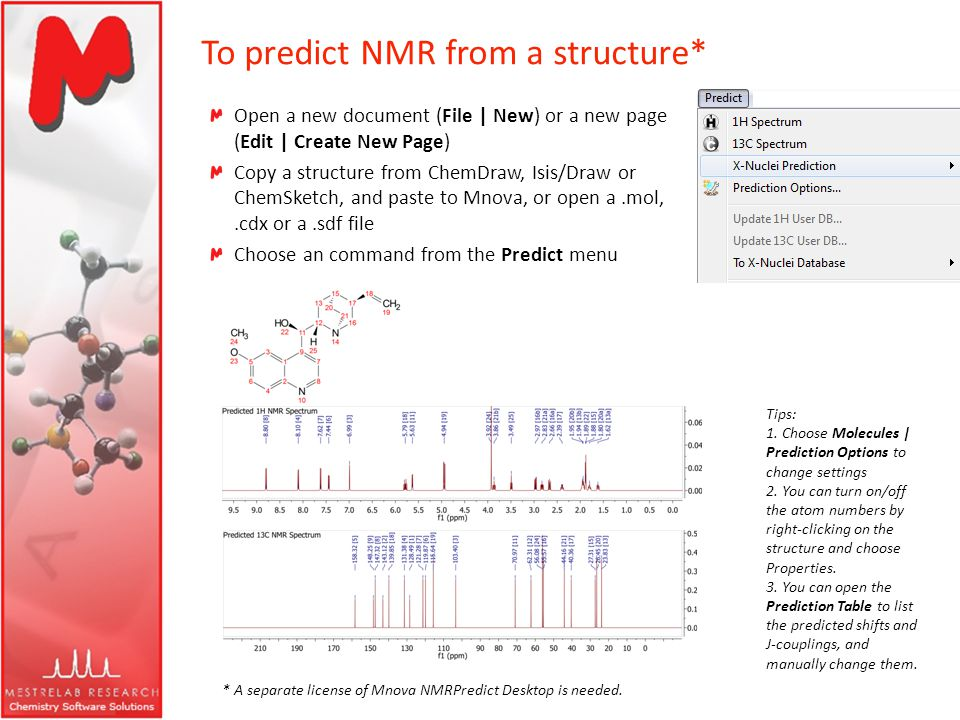 To predict NMR from a structure* Open a new document (File | New) or a new page (Edit | Create New Page) Copy a structure from ChemDraw, Isis/Draw or
