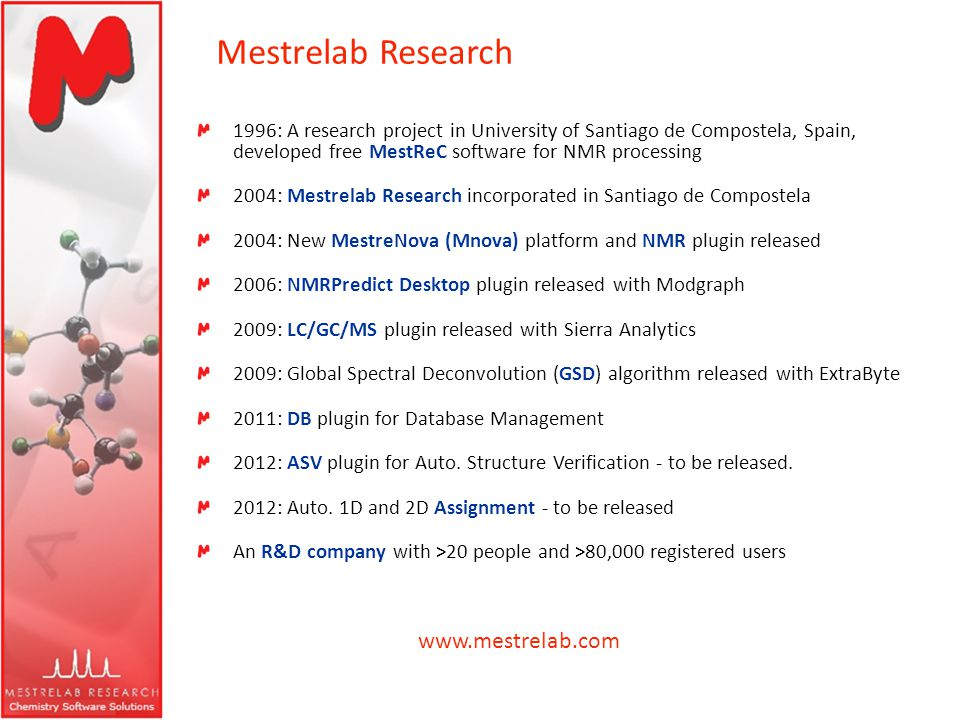 Mestrelab Research 1996: A research project in University of Santiago de Compostela, Spain, developed free MestReC software for NMR processing 2004: M