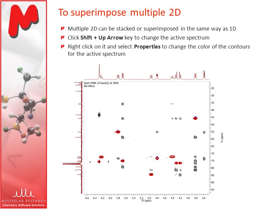 To superimpose multiple 2D Multiple 2D can be stacked or superimposed in the same way as 1D Click Shift + Up Arrow key to change the active spectrum R