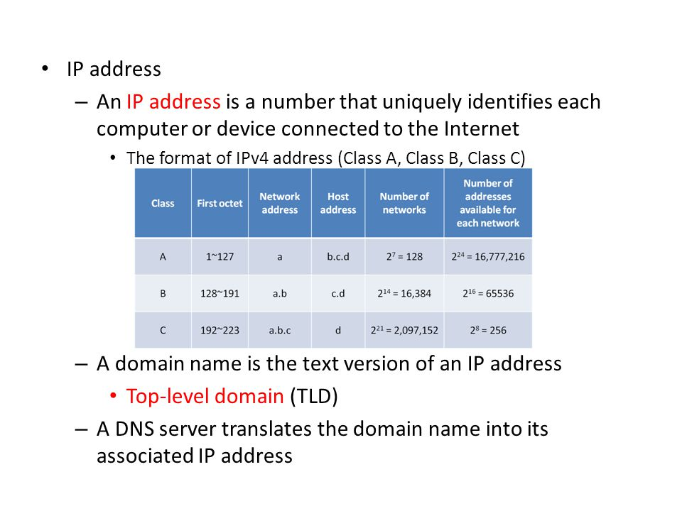IP address – An IP address is a number that uniquely identifies each computer or device connected to the Internet The format of IPv4 address (Class A,