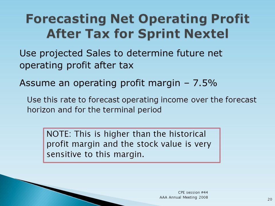 Use projected Sales to determine future net operating profit after tax Assume an operating profit margin – 7.5% Use this rate to forecast operating in
