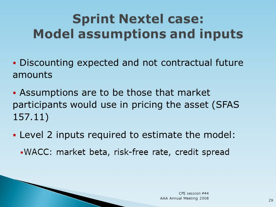Discounting expected and not contractual future amounts Assumptions are to be those that market participants would use in pricing the asset (SFAS 157.