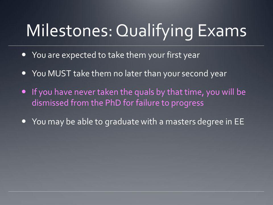 Milestones: Qualifying Exams You are expected to take them your first year You MUST take them no later than your second year If you have never taken the quals by that time, you will be dismissed from the PhD for failure to progress You may be able to graduate with a masters degree in EE