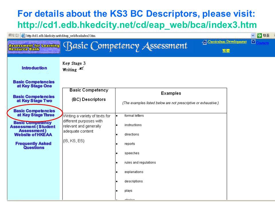 For details about the KS3 BC Descriptors, please visit: http://cd1.edb.hkedcity.net/cd/eap_web/bca/index3.htm