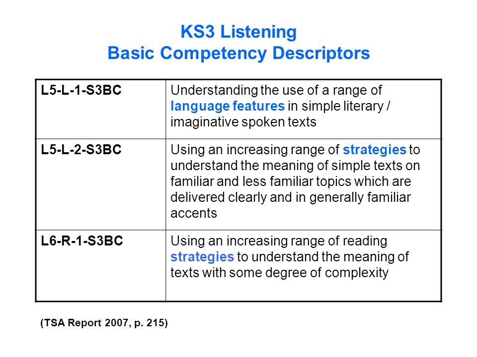 KS3 Listening Basic Competency Descriptors L5-L-1-S3BCUnderstanding the use of a range of language features in simple literary / imaginative spoken te