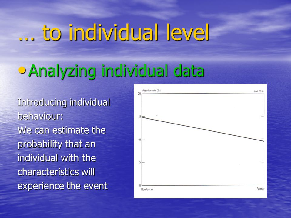 … to individual level Analyzing individual data Analyzing individual data Introducing individual behaviour: We can estimate the probability that an individual with the characteristics will experience the event