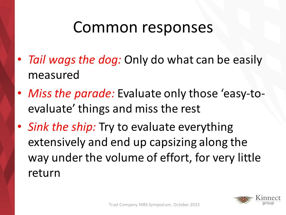 Common responses Tail wags the dog: Only do what can be easily measured Miss the parade: Evaluate only those easy-to- evaluate things and miss the res