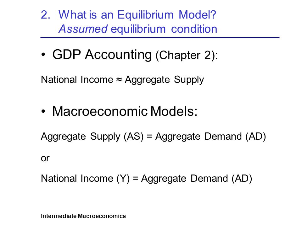 Intermediate Macroeconomics 2.What is an Equilibrium Model.