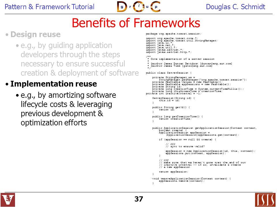 Pattern & Framework TutorialDouglas C. Schmidt 37 package org.apache.tomcat.session; import org.apache.tomcat.core.*; import org.apache.tomcat.util.St