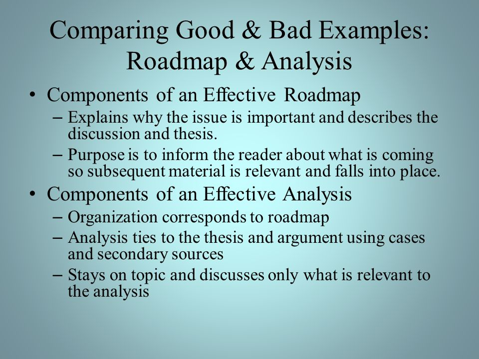 Comparing Good & Bad Examples: Roadmap & Analysis Components of an Effective Roadmap – Explains why the issue is important and describes the discussion and thesis.