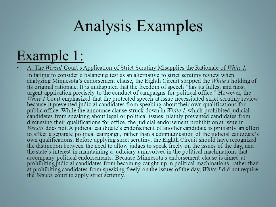 Analysis Examples Example 1: A.