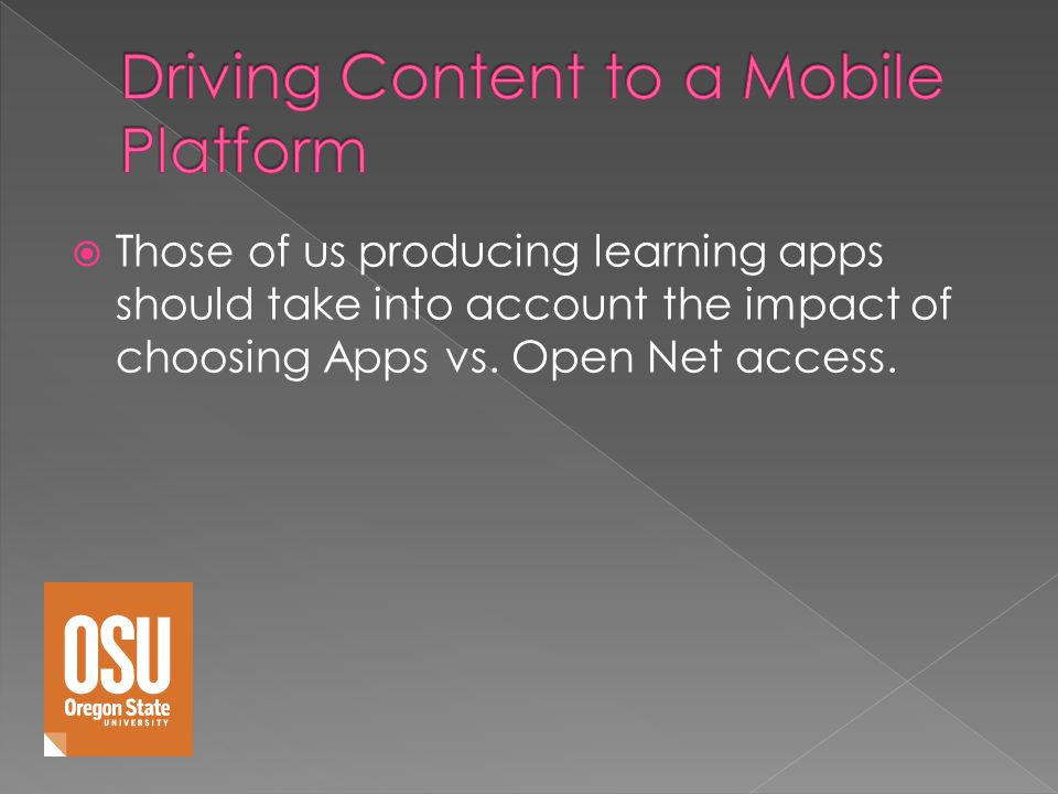 Those of us producing learning apps should take into account the impact of choosing Apps vs.