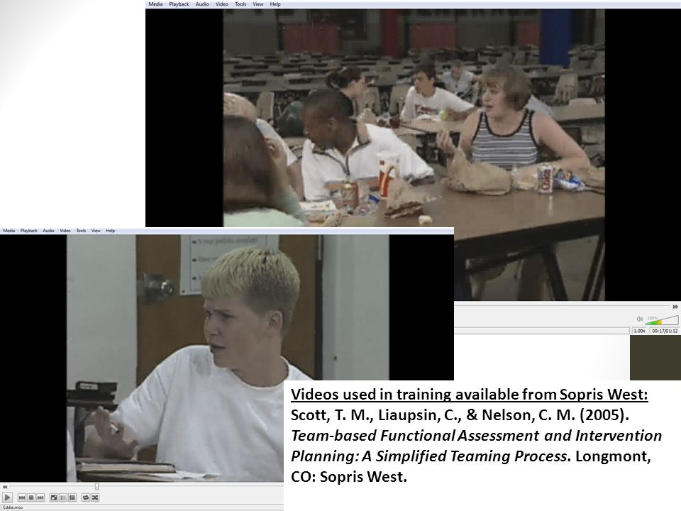 Videos used in training available from Sopris West: Scott, T. M., Liaupsin, C., & Nelson, C. M. (2005). Team-based Functional Assessment and Intervent