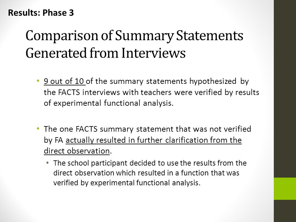 Comparison of Summary Statements Generated from Interviews 9 out of 10 of the summary statements hypothesized by the FACTS interviews with teachers we