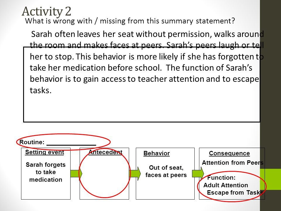 Activity 2 What is wrong with / missing from this summary statement? Sarah often leaves her seat without permission, walks around the room and makes f