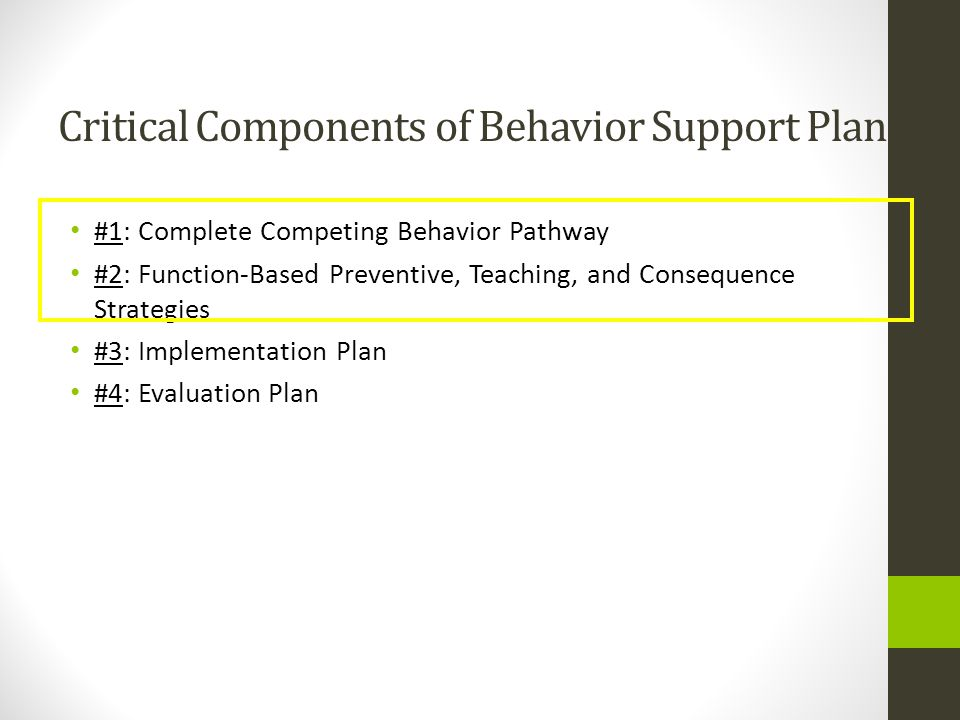 Critical Components of Behavior Support Plans #1: Complete Competing Behavior Pathway #2: Function-Based Preventive, Teaching, and Consequence Strateg