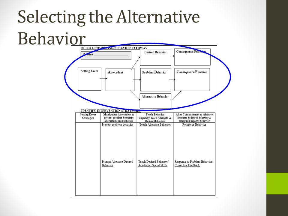 Selecting the Alternative Behavior