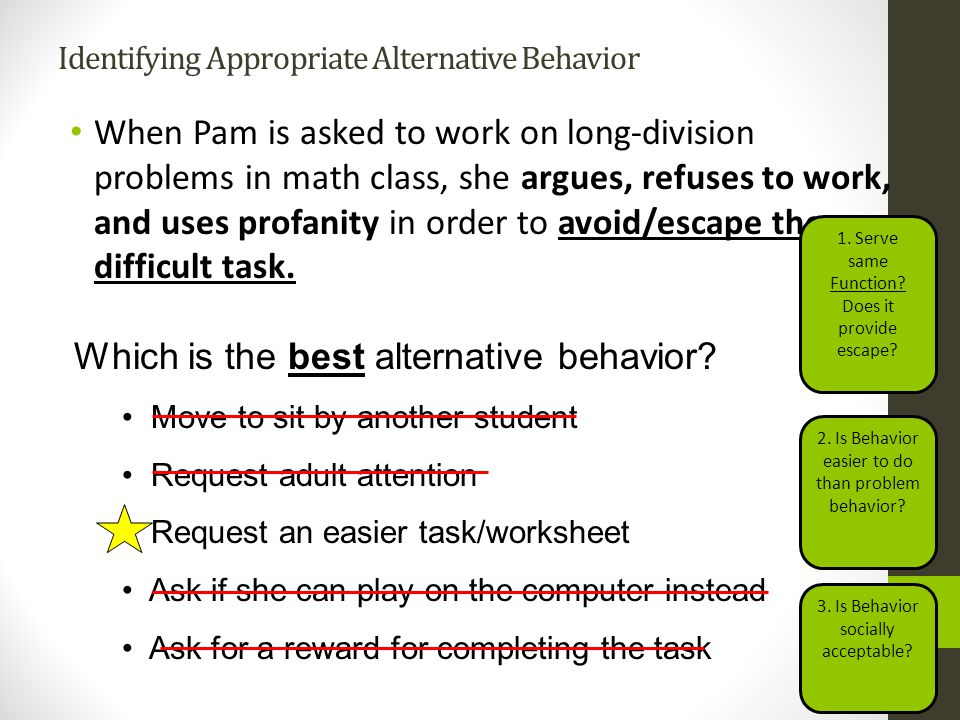 Identifying Appropriate Alternative Behavior When Pam is asked to work on long-division problems in math class, she argues, refuses to work, and uses