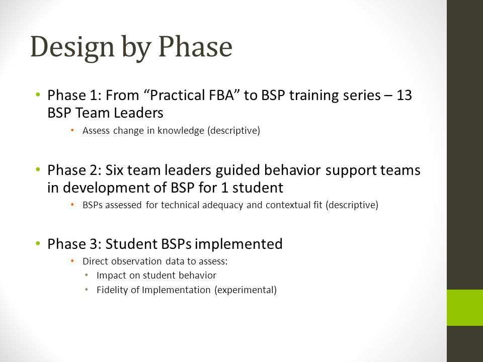 Design by Phase Phase 1: From Practical FBA to BSP training series – 13 BSP Team Leaders Assess change in knowledge (descriptive) Phase 2: Six team le