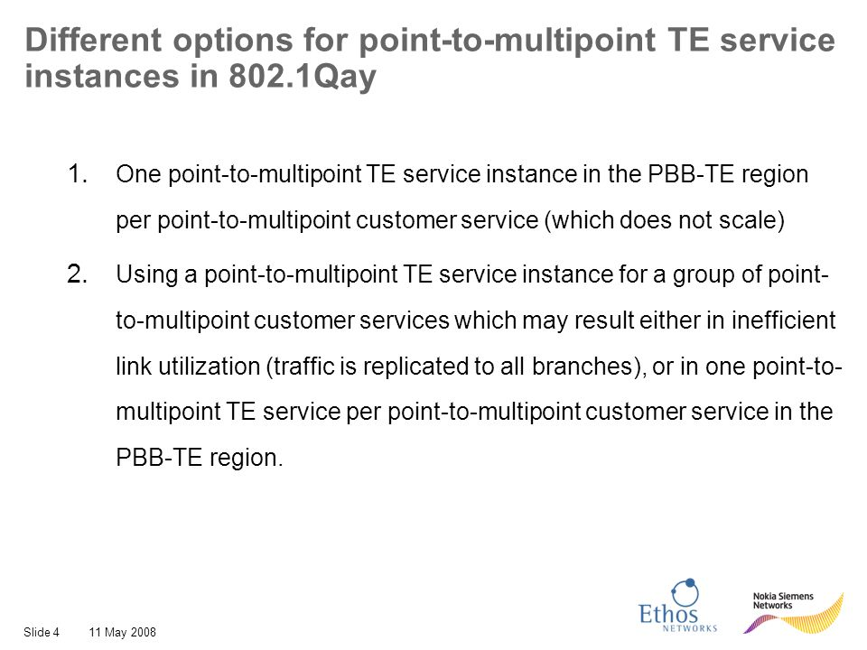 Slide 1511 May 2008 1:1 point-to-point protection with Point-to- multipoint service delivery over full-mesh point-to- point TE service instances Full-mesh protected point-to-point TE service instances.