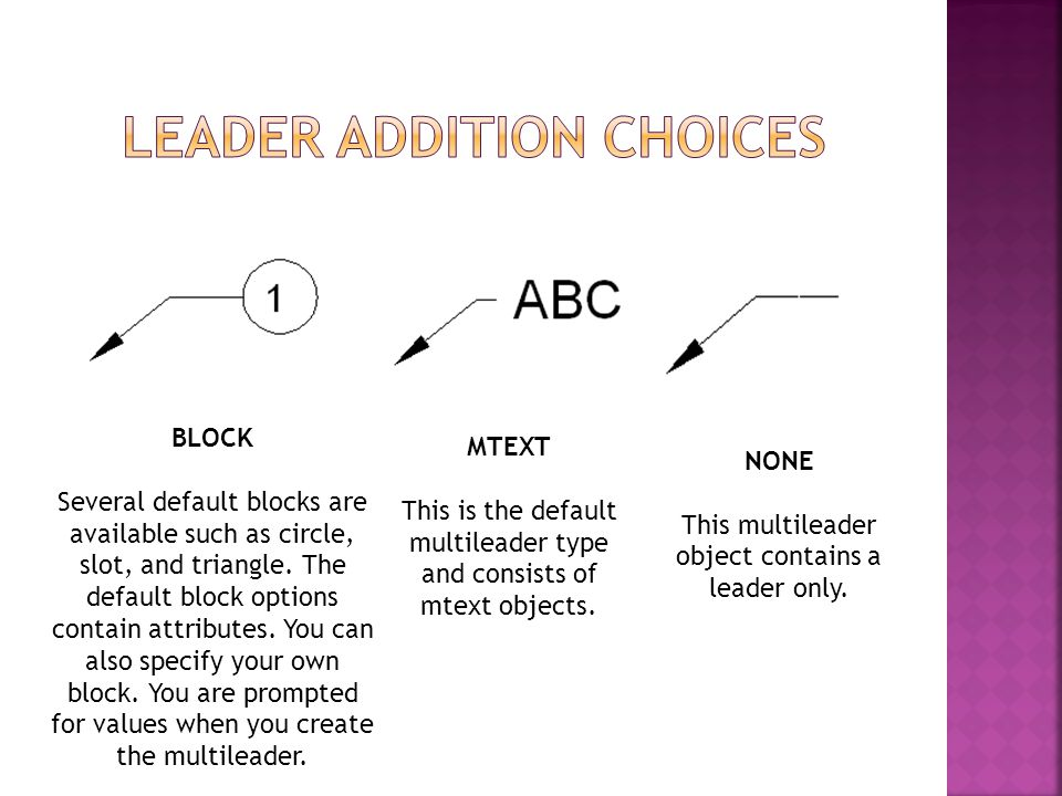 NONE This multileader object contains a leader only. MTEXT This is the default multileader type and consists of mtext objects. BLOCK Several default b