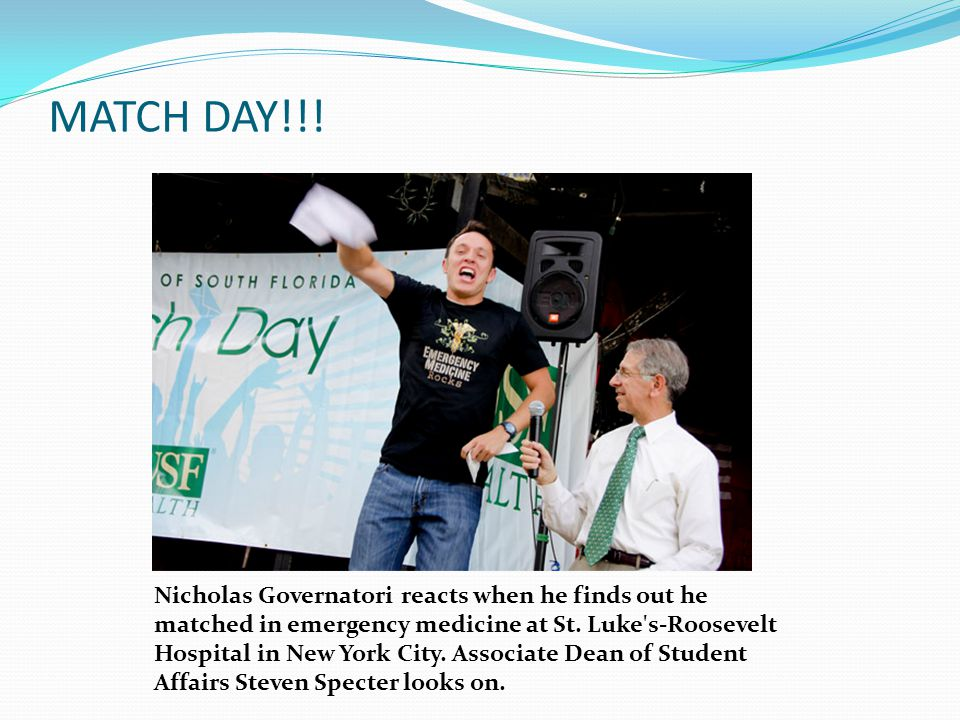MATCH DAY!!. Nicholas Governatori reacts when he finds out he matched in emergency medicine at St.