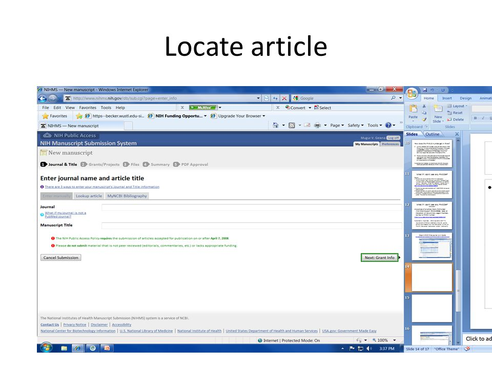 Locate article